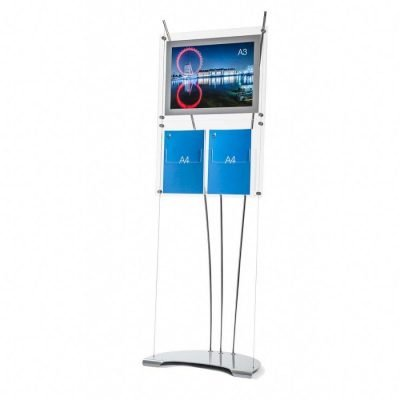 Free standing poster stand with brochure holder