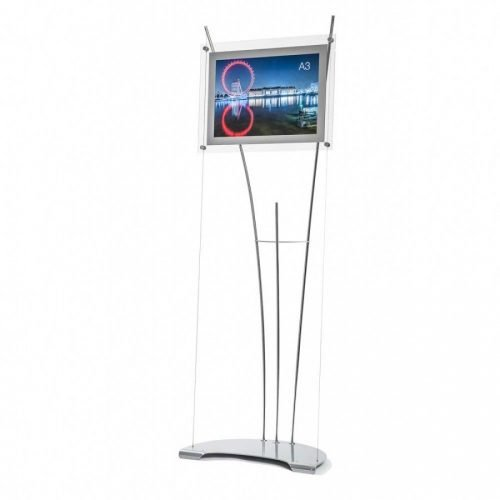 A3 poster holder landscape on floor standing 165cm tall display stand