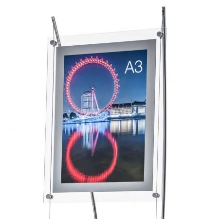 Floor standing A3 poster holder stand with a silver frame