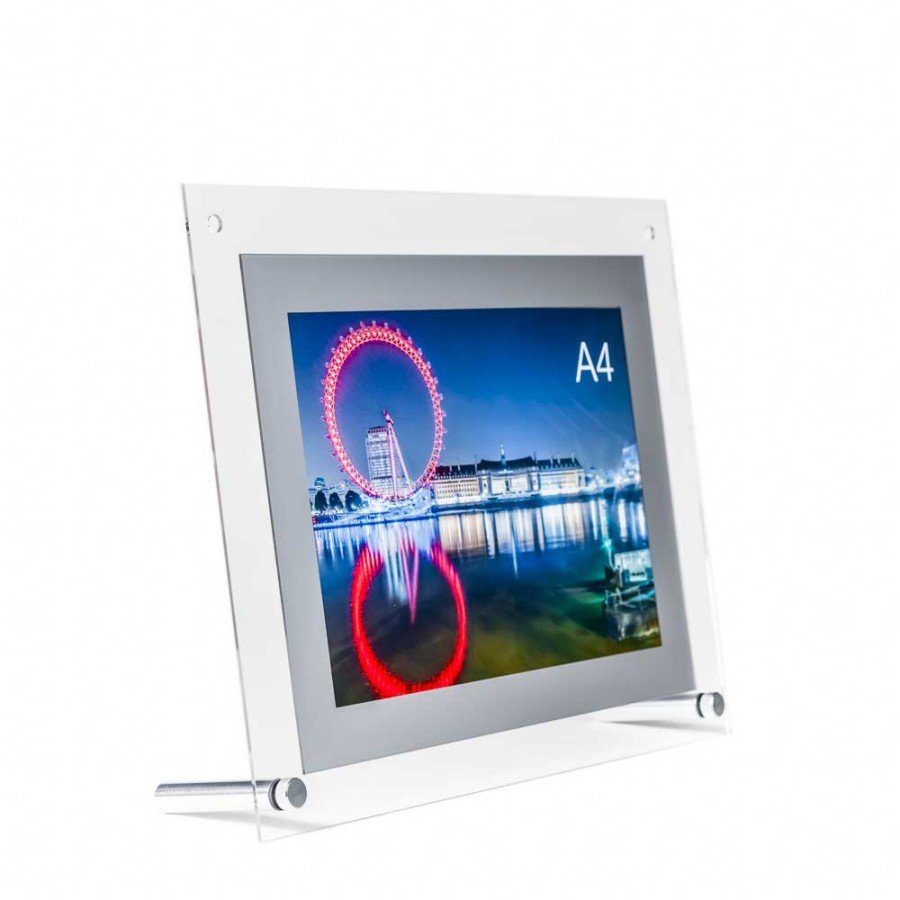 Table top product display - Acrylic A4 Poster Holder Display With Silver Frame For Use On Table Tops