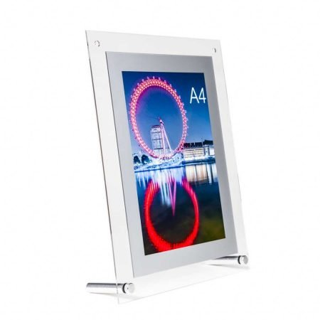 Acrylic A4 Poster holder display with silver frame for use on table tops