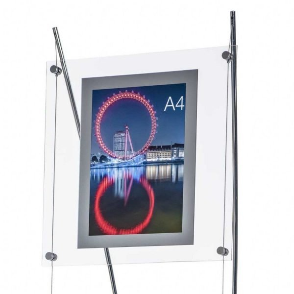 Close up image of acrylic A4 poster holder with silver frame