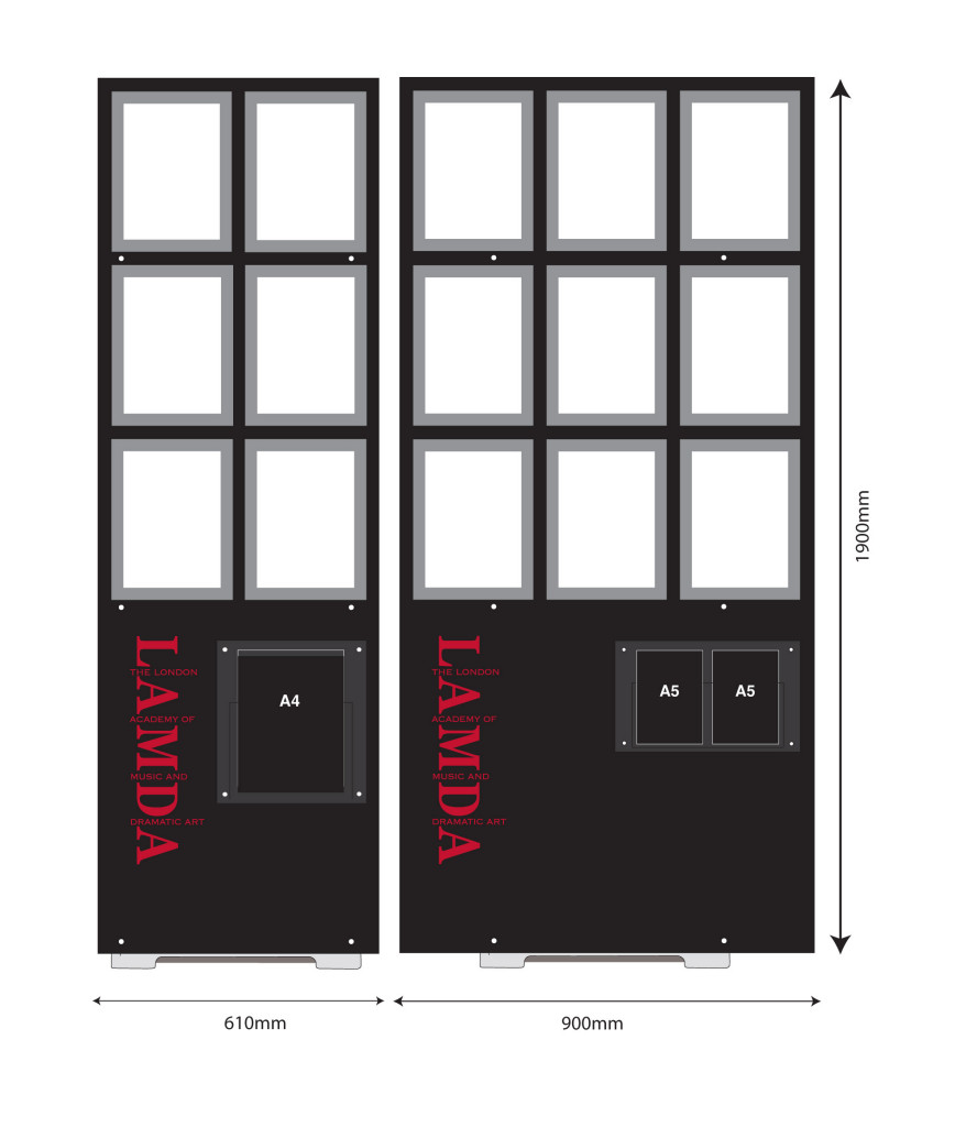 Production Design Drawing of the custom A4 Poster Displays