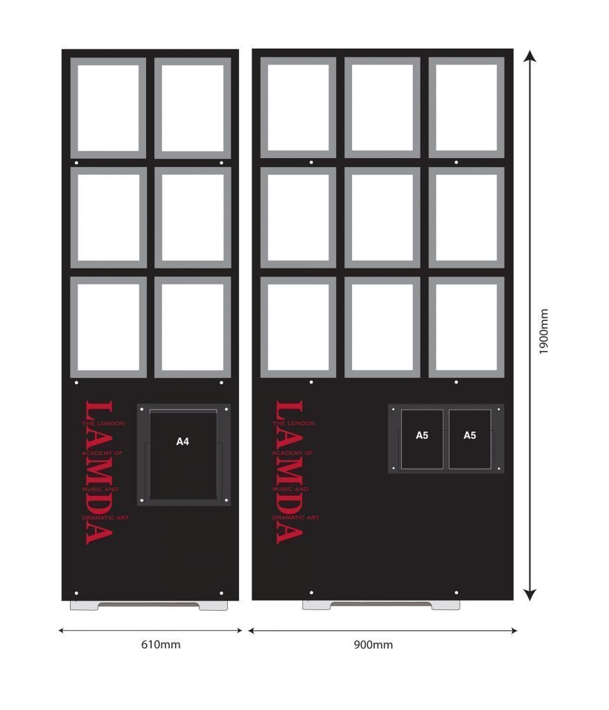 Design drawing of Lamda poster displays stands with A4 portrait photo holders