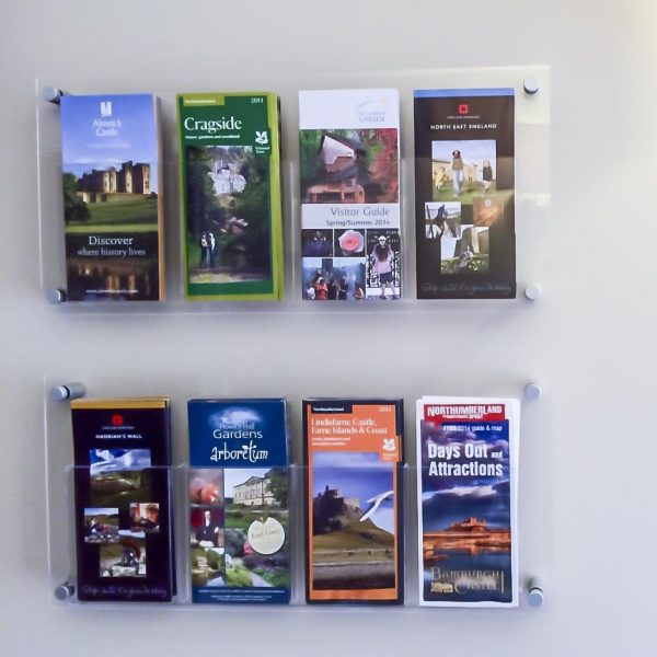Wall fixed DL / third A4 leaflet holder
