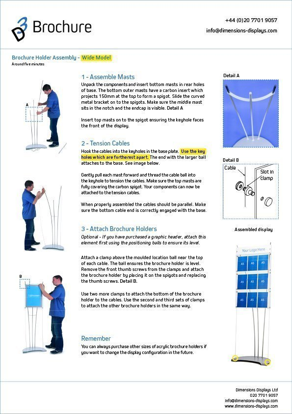 assemble d3 brochure stand instructions