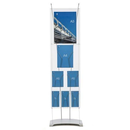 Floor standing poster and brochure point of sale display, A3 acrylic poster holder, stylish pos display stand