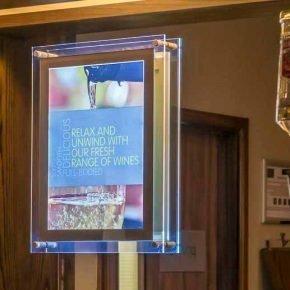 A3 Lightbox display in Premier Inn Bar