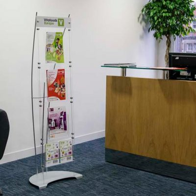 Floor standing A4 and A5 brochure display system in office reception area