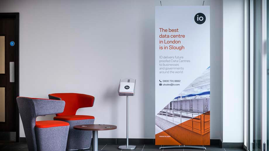 Elegant stand alone banner display in modern office reception area