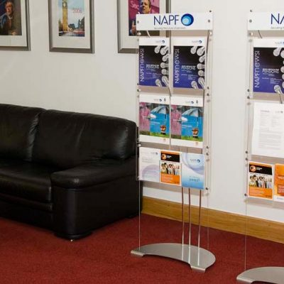 Floor standing leaflet holder stand with printed header logo panel