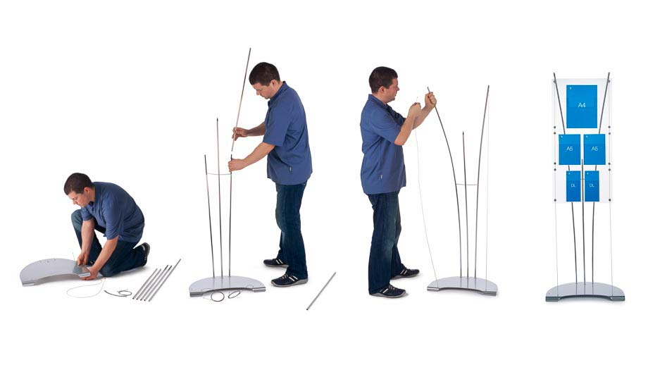 Quick self assembly brochure displays stands that can be easily moved