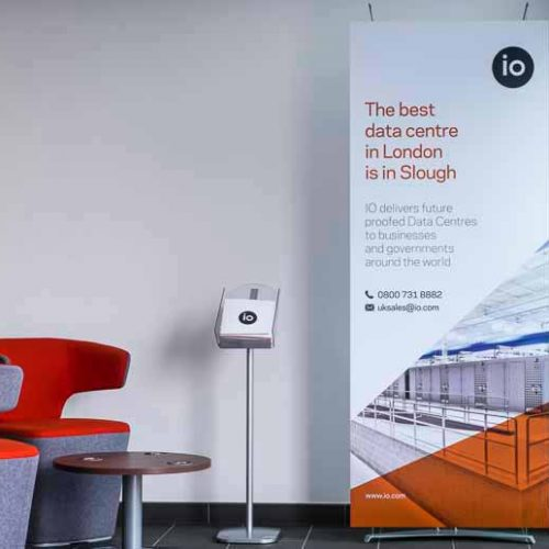 Modern Banner Stands in Corporate Reception Area