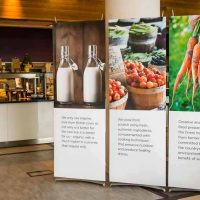 Three permanent banner displays in in-house corporate restaurant.