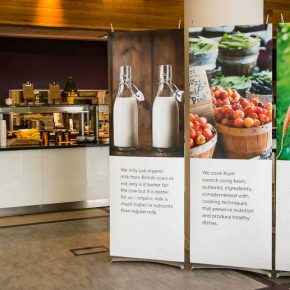 Pop Up Stands in corporate office restaurant