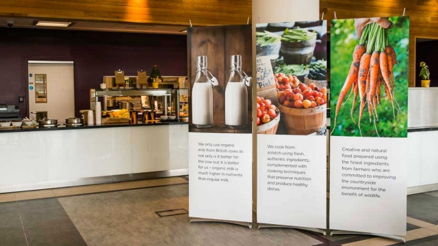 Display graphics in corporate office space restuarant