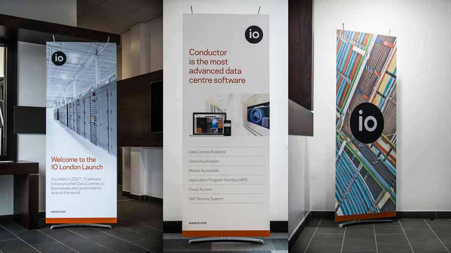 Hi-Tech Banner Displays used for signage and branding in commercial building