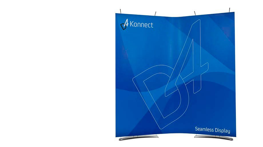 Two magnetically connected banner stands formed into curved wall