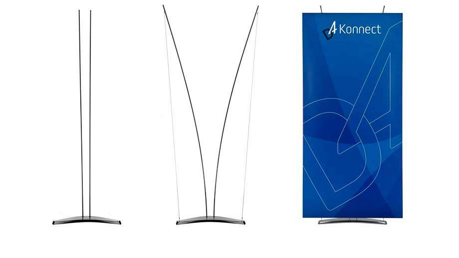 Three stage assembly of the D4 Konnect Banner stand