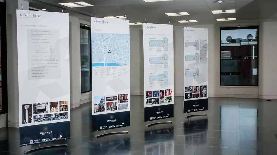 Marketing banner stands for selling commercial office space