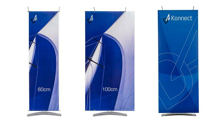 three different models of D4 banner stand