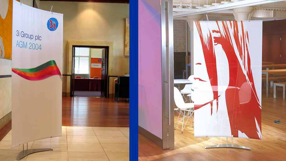 Curved fabric banner stands in office reception areas