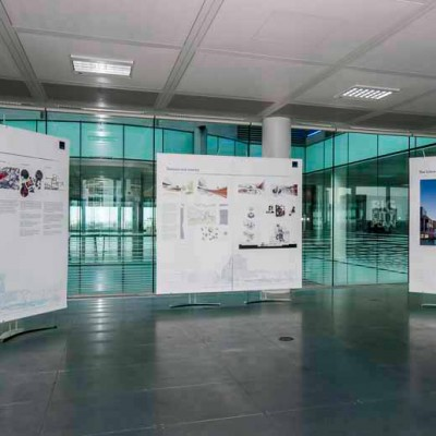 Temporary banner graphics for architectural planning exhibition