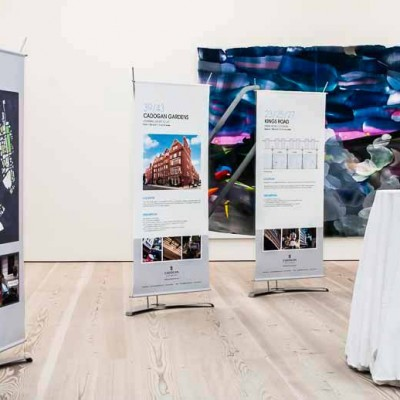 Temporary graphic displays at drinks event for the Cadogan estate in the Saatchi gallery