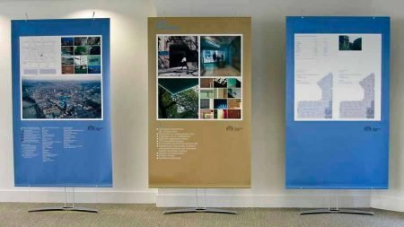 Property marketing displays stands for promoting commercial London office space