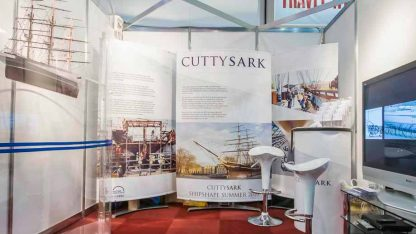 Exhibition banner displays for trade show fabric banners, cutty sark museum.