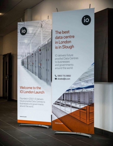 Two stylish 80cm wide D4 banner stands in company reception area
