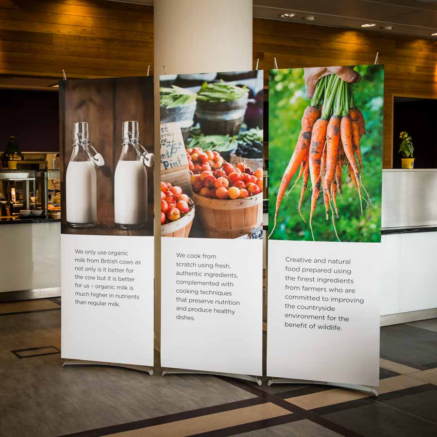 70cm banner stands in corporate restuarant