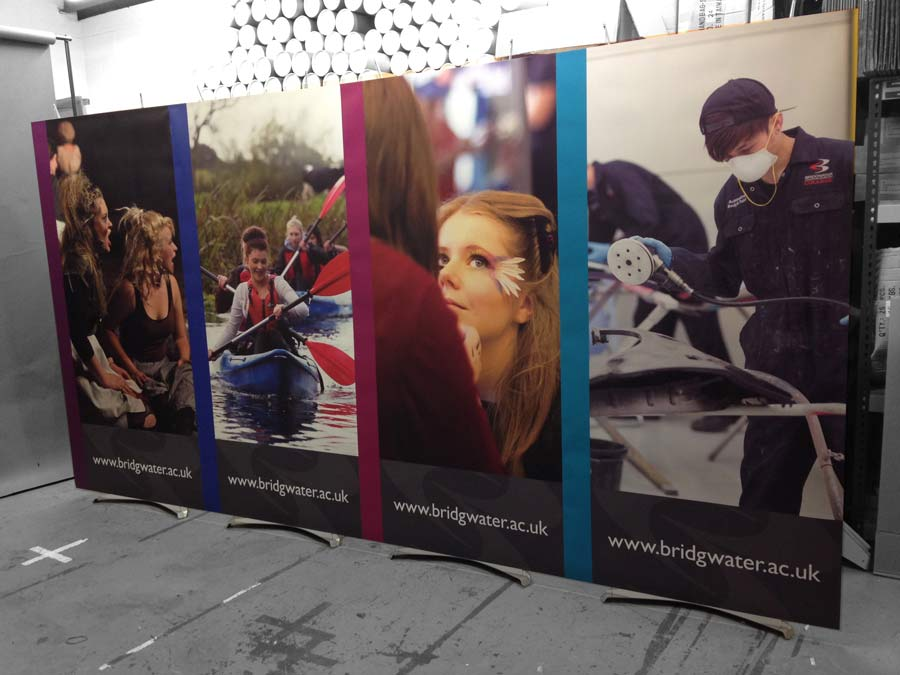 Exhibition Stand Displays - four 100cm wide banner stands connected together