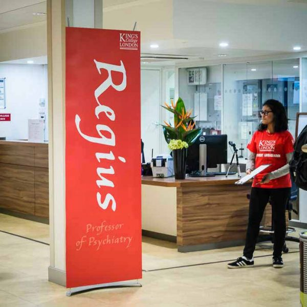 stylish 70cm banner stand in Kings College reception area