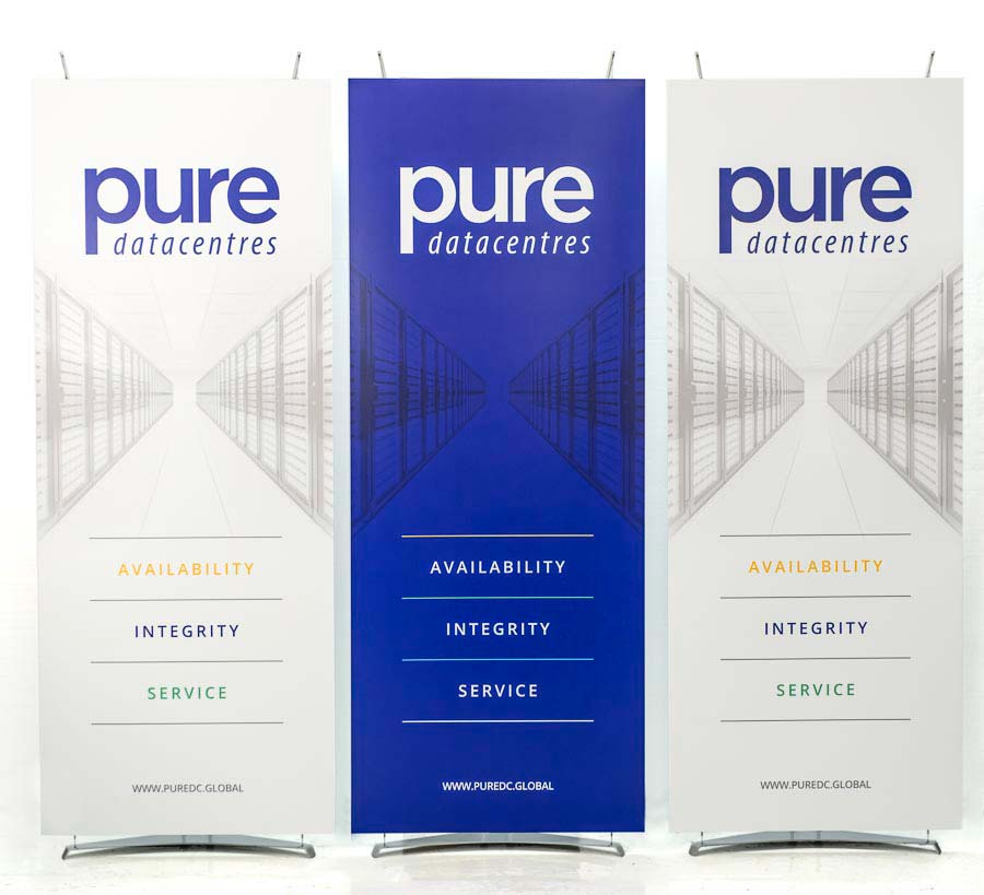 Group of three banner stands for tech company