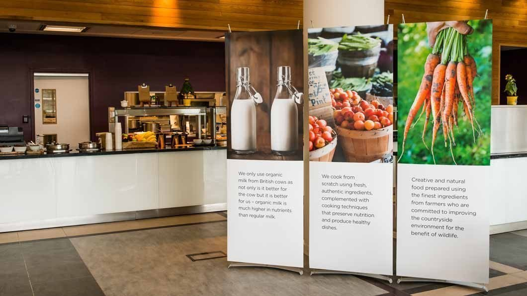 70cm pop up banners in corporate restaurant