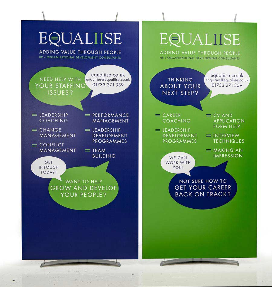 Large 1m wide banner displays for exhibition stand