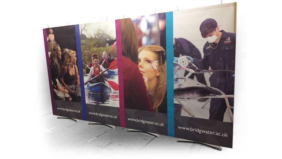 Exhibition graphics modular banner displays 4m wide