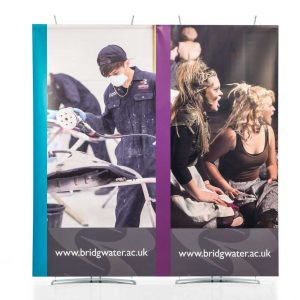 Large modular banner displays 2m wide