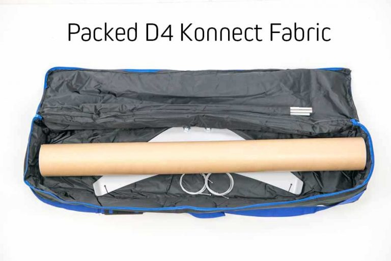 Fabric banner stand packed in travel bag