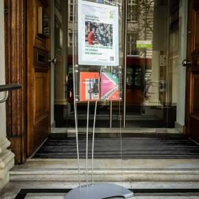 Floor standing poster and brochure display
