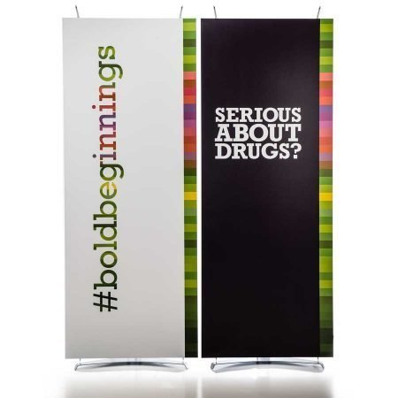 pair of 80cm wide banner stands with display graphics