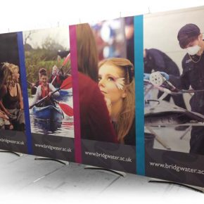 100cm wide banner stands connected together into 4m wide Exhibition Stand