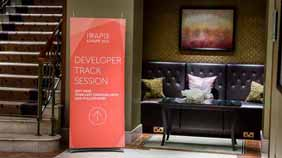 small banner displays in hotel foyer