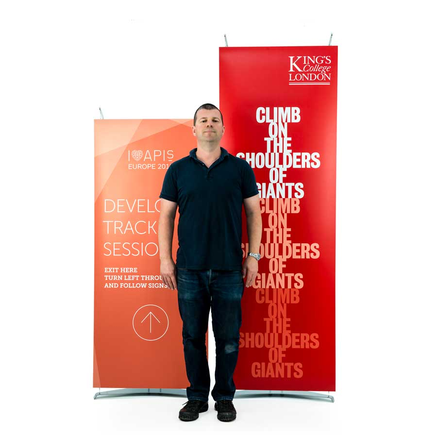 Compare heights of our standard versus mini banner stands