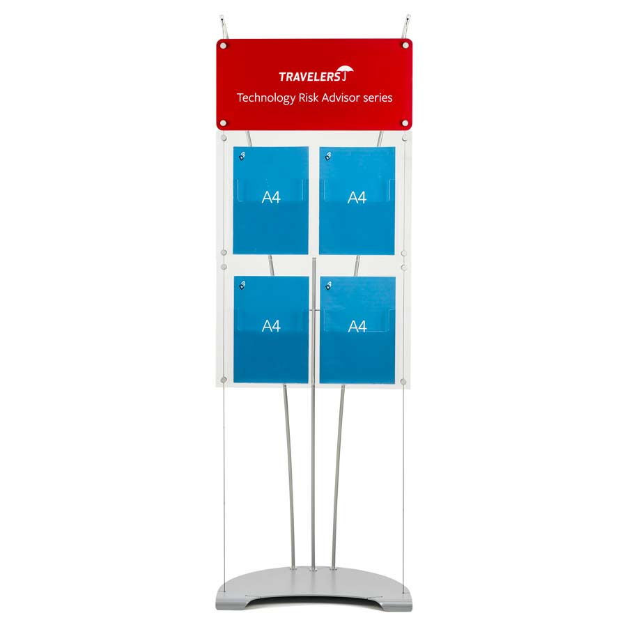 large branded sign panel fon A4 brochure display stand