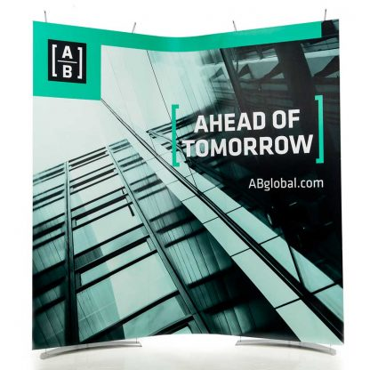 Curved banner display stands