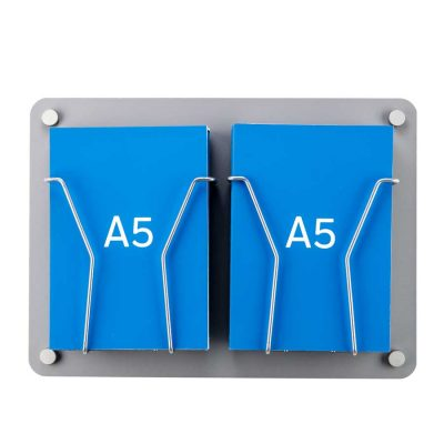 A5 Leaflet holder - wall mounted silver