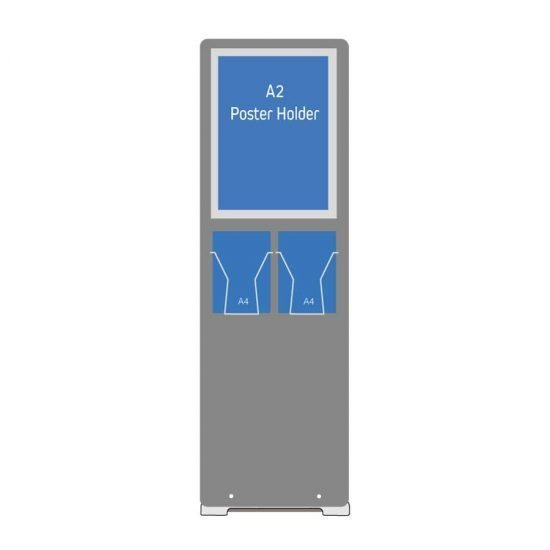 A2 poster holder stand with A4 leaflet holders