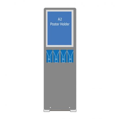 A2 poster holder stand with DL leaflet holders